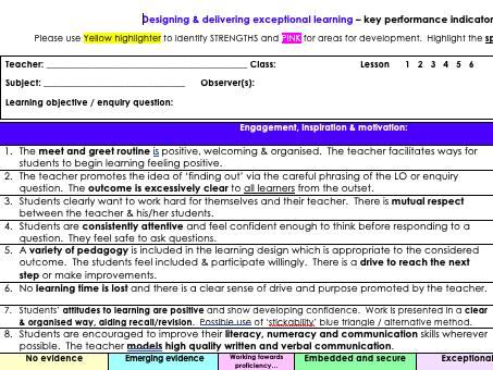 Observation pro-forma for observing and developing exceptional teachers
