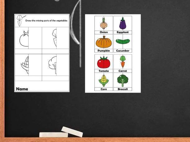 Line of the symmetry. Symmetry worksheets vegetables