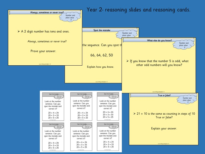 Reasoning Slides and Cards- Year 2- Number and Place Value