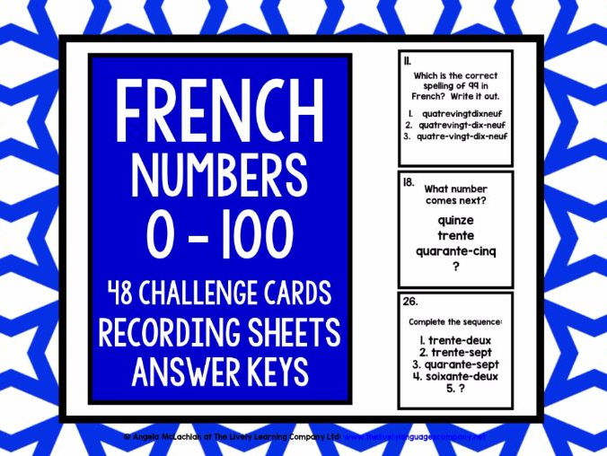 FRENCH NUMBERS 0-100 CHALLENGE CARDS WITH RECORDING SHEET & ANSWER KEY