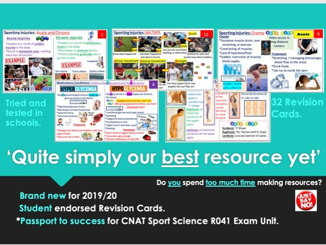 Cambridge National Sport Science R041 Exam Unit Revision Cards