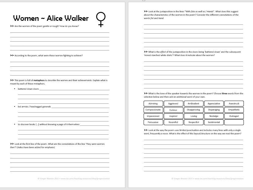 Women ~ Alice Walker ~ Analysis worksheet