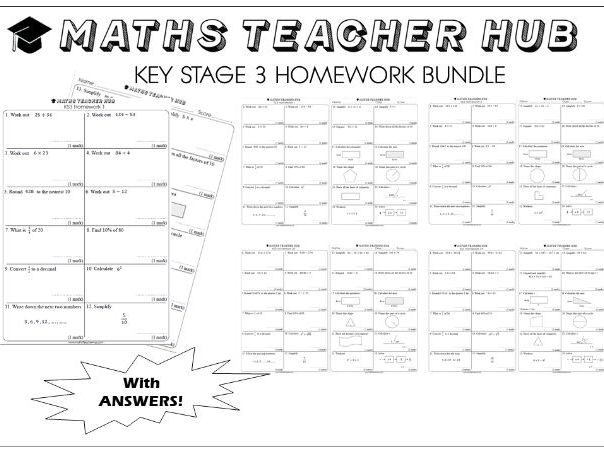 GCSE KS3 basic skills HOMEWORK 80 pages with answers (Home Learning)
