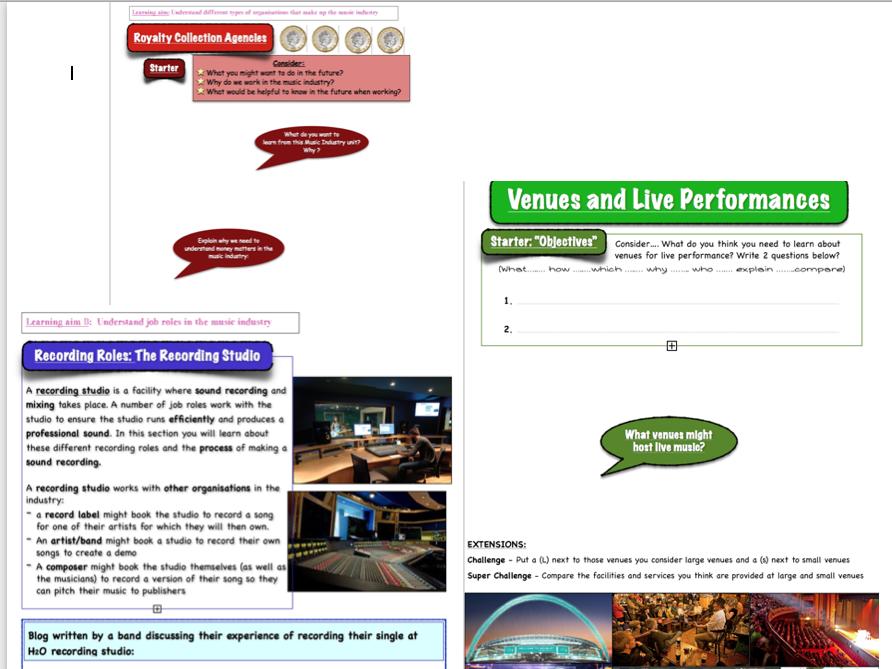 BTEC music unit 1 'The Music Industry' - Worksheet Packs