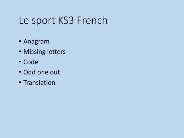 Le Sport - KS3 Lesson Starters