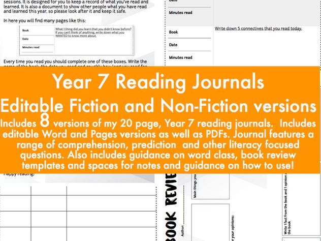 Year 7 Fiction and Non-Fiction Reading Journal / Diary - editable versions