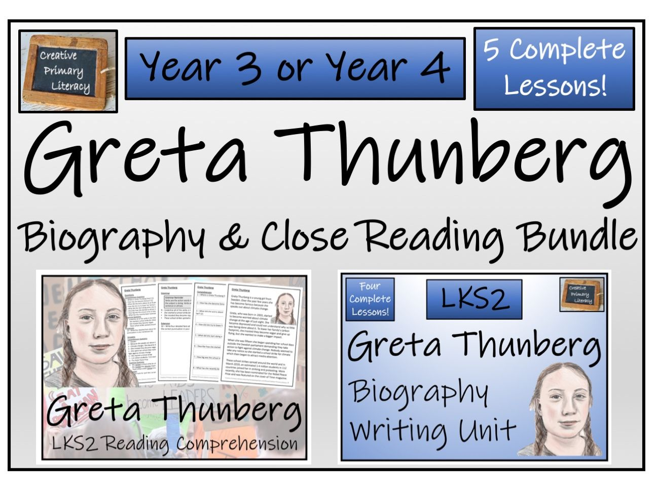 LKS2 Literacy - Greta Thunberg Reading Comprehension & Biography Bundle