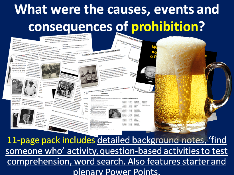 Prohibition & Gangsters - 11-page full lesson (starter, notes, worksheet, wordsearch, plenary)