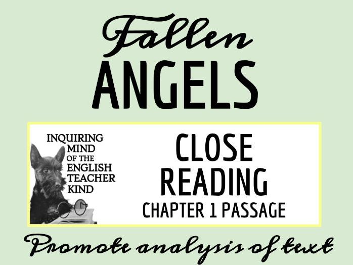 Fallen Angels Close Reading Worksheet - Chapter 1
