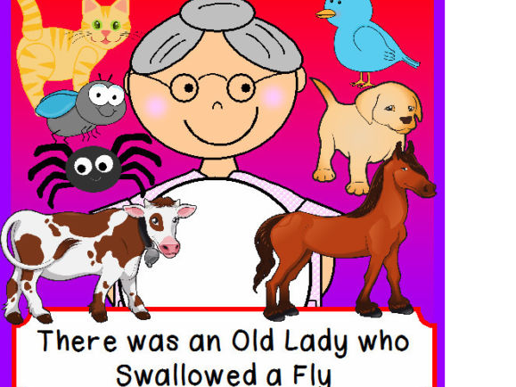 THERE WAS AN OLD WOMAN LADY WHO SWALLOWED A FLY Games Song Rhyme Literacy EYFS