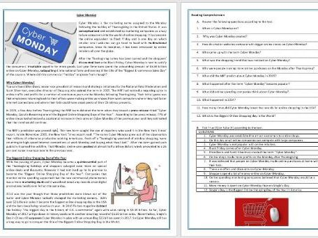 Cyber Monday - Reading Comprehension / Vocabulary Worksheet