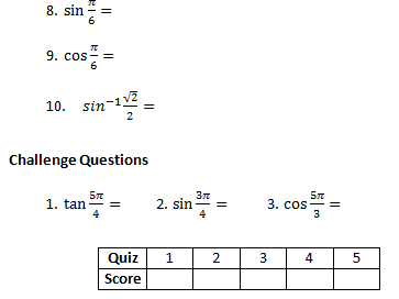 A-Level Exact Trig Values Weekly Quiz