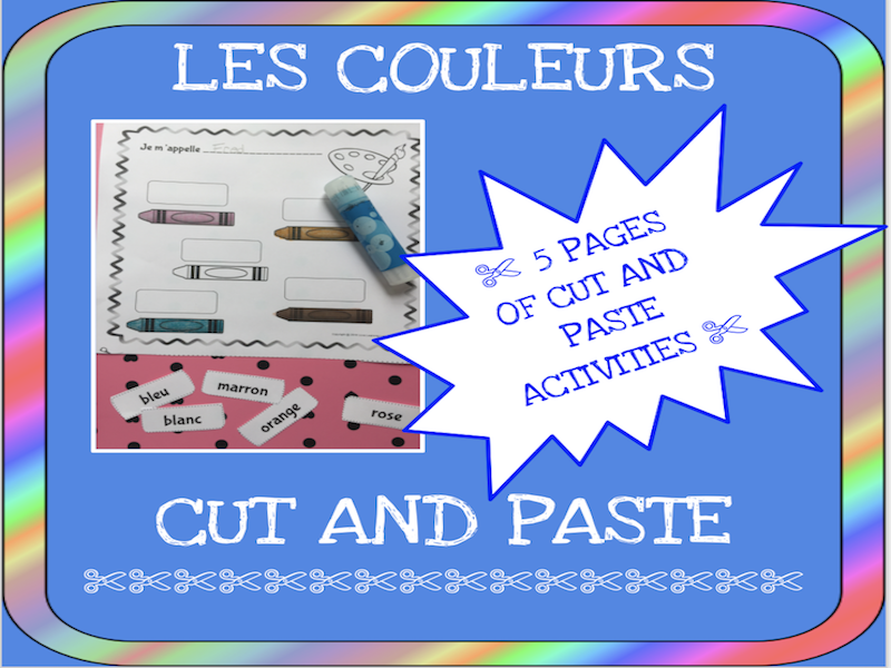 French colors cut and paste activity - Les couleurs