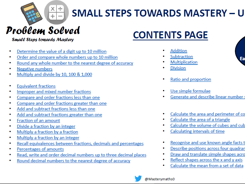 Problem Solved - Small Steps to Mastery Year 6