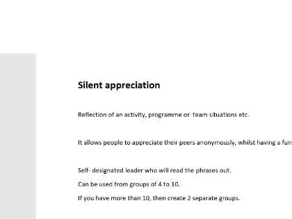 Team Reflection Activity - Silent Appreciation - No Prep