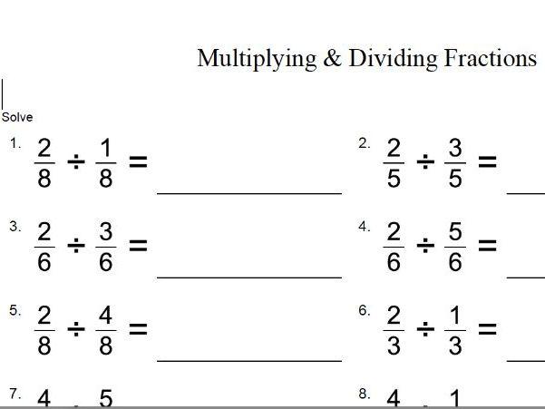 TES multiplying and dividing fractions – GCSE maths worksheet