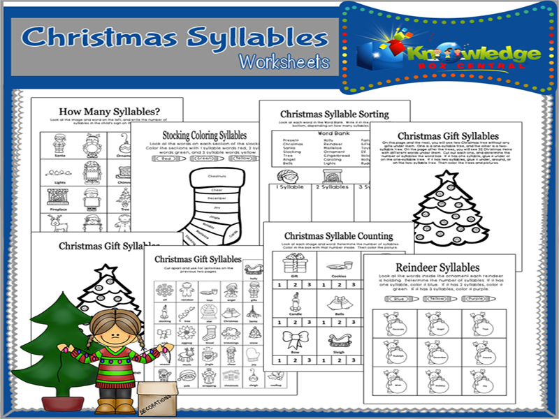 Christmas Syllables Worksheets