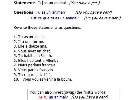 Ppt And Worksheet On Question Words In French By Sommersprossen