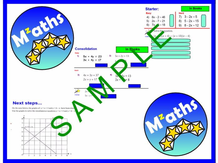 Simultaneous Equations (4 Lessons) - Elimination/Problem Solving/Revision
