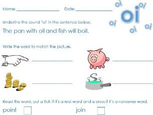 Phonics Phase 3 'oi' sound worksheet