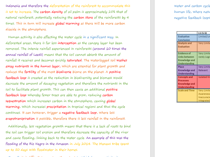 Year 12 Model Answers to A Level Questions- Carbon and Water Cycle and Changing Places