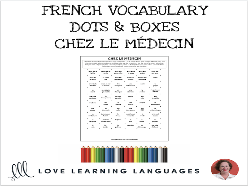 French Dots and Boxes Game - CHEZ LE MÉDECIN - No prep printable