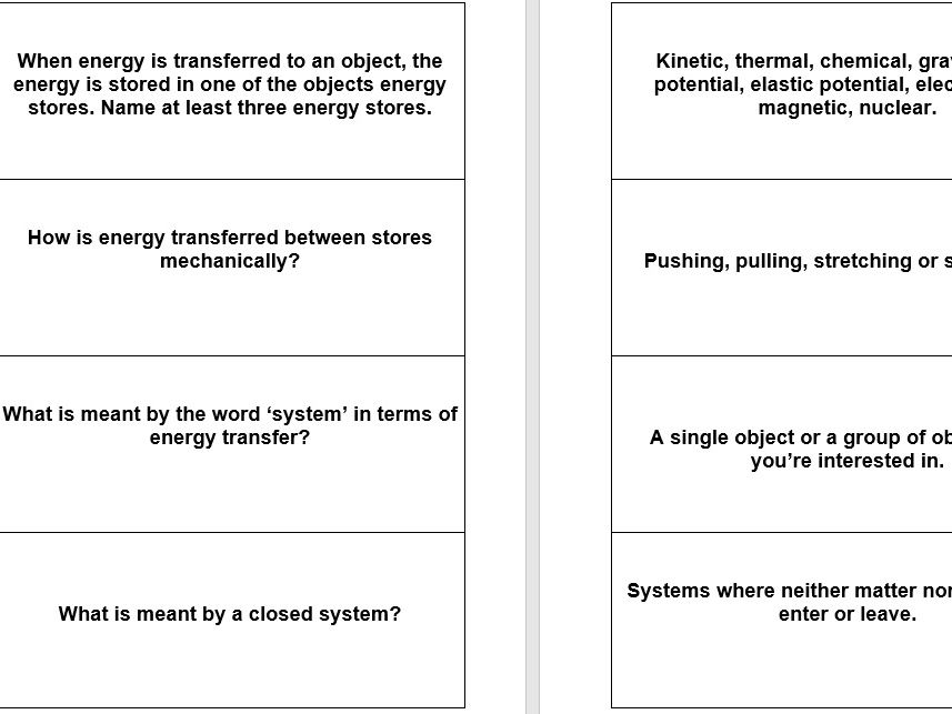 Revision flash cards for AQA Trilogy Physics paper 1
