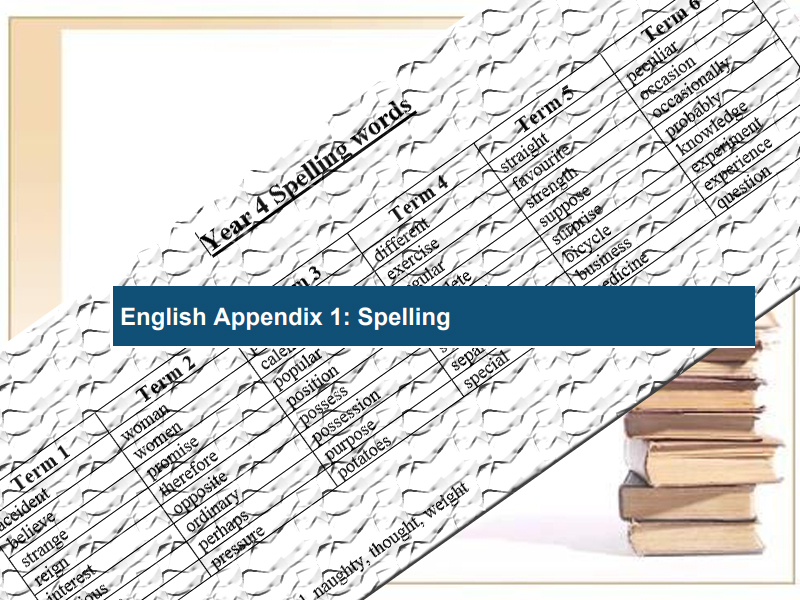 National Curriculum Spelling Words Year 4
