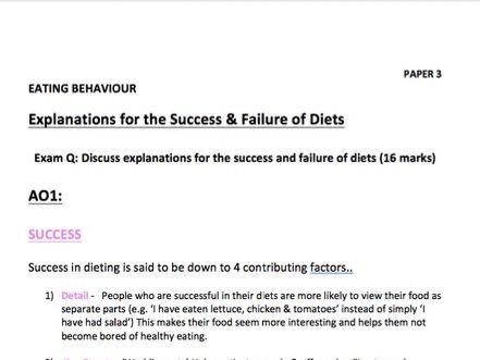 Success & Failure of Diets Notes - Psychology A-Level - AQA Paper 3