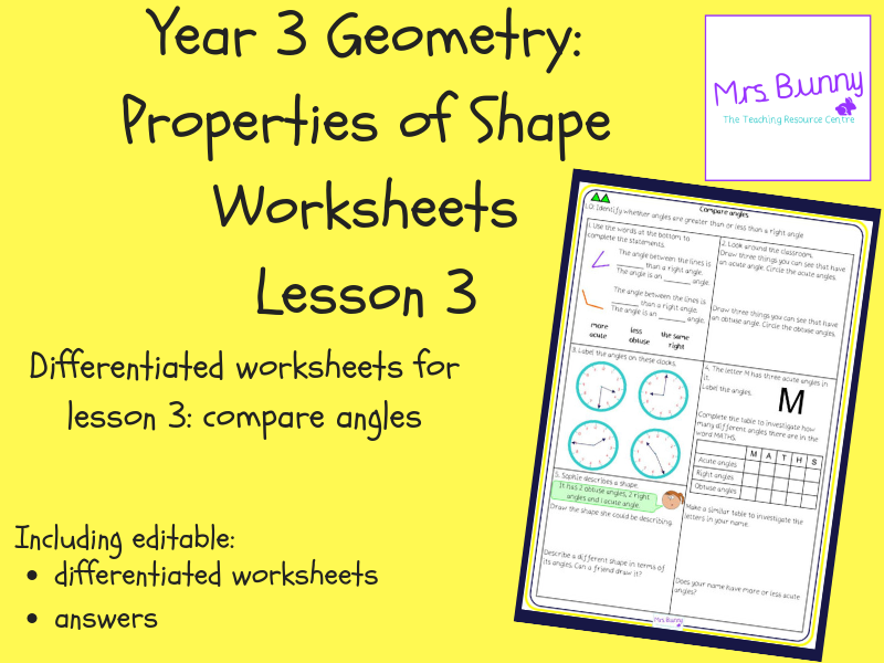 3. Geometry: compare angles worksheets (Y3)