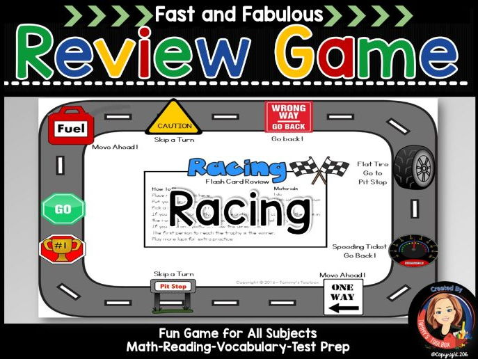 Racing Theme Fact Review Game for Any Subject
