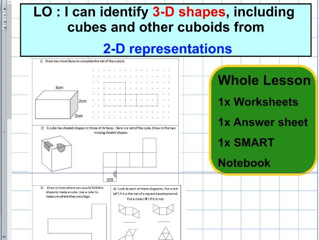 Nets - 3D shapes represented by 2D shapes - Geometry - Position of shape - KS2 - Whole lesson