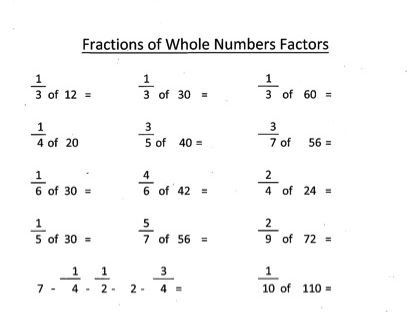 Fractions Whole Number Factors