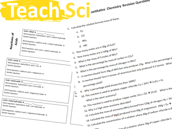 Complete AQA (new) Chemistry Revision Mats & Questions