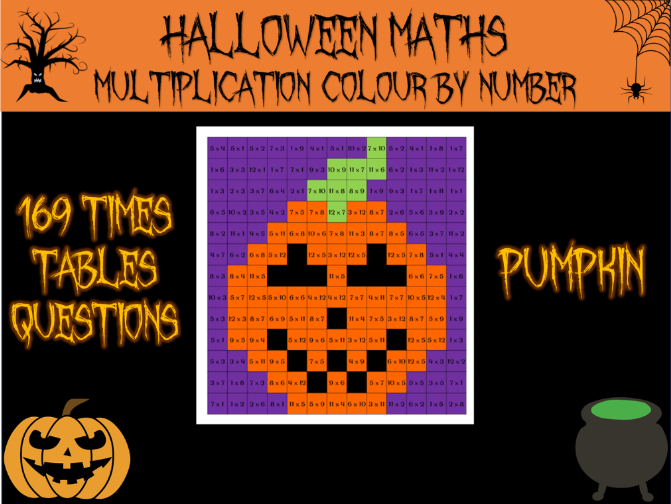 Halloween maths - multiplication colour by number