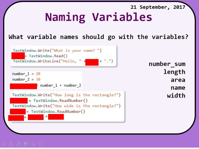 Small Basic Variables Lesson