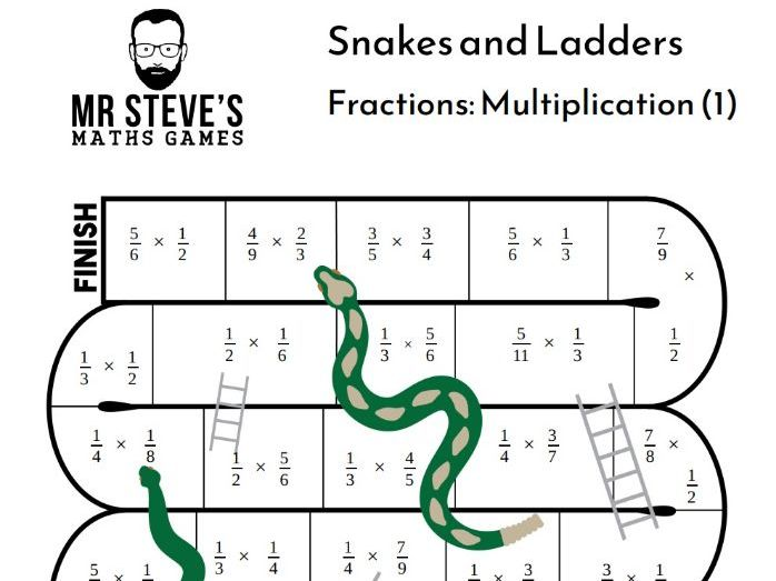 Multiply Fractions Game Snakes and Ladders Multiplication Year 6 Year 7 Year 8 ACMNA154