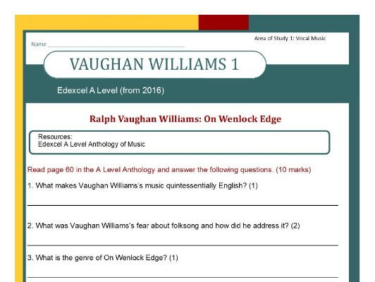 Edexcel Music A Level (from 2016) Vaughan Williams 1