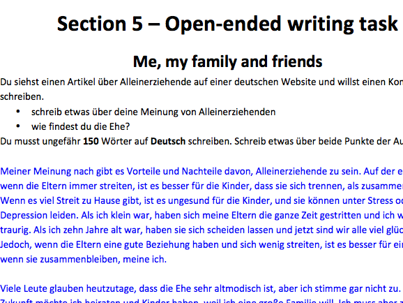 AQA German Writing model answers