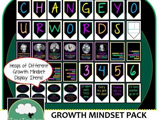 Growth Mindset Decor Pack - Banner Change your Words Mindset + Posters + Quote Posters + Alphabet