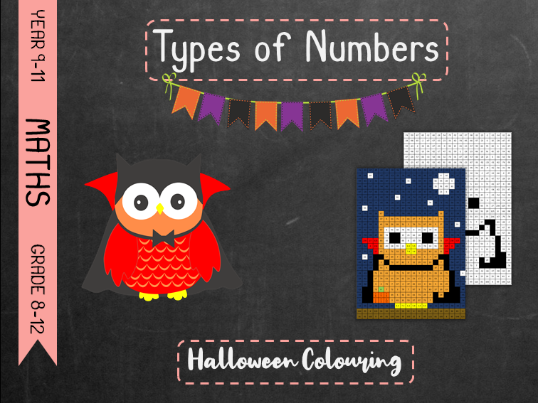 Types of Numbers - Halloween Colouring