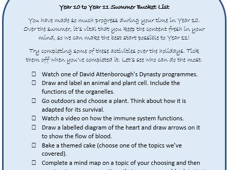 KS4 Science Summer Bucket List
