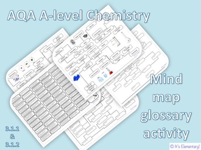 AQA A-level Chemistry - glossary and mind map activity for atomic structure and amounts of substance