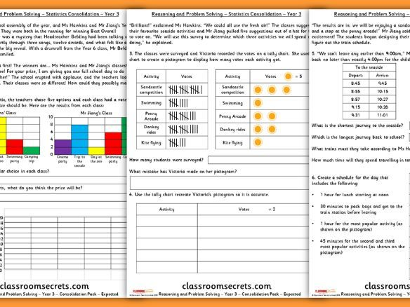 Statistics Consolidation Year 3 Spring Block 3 Reasoning and Problem Solving