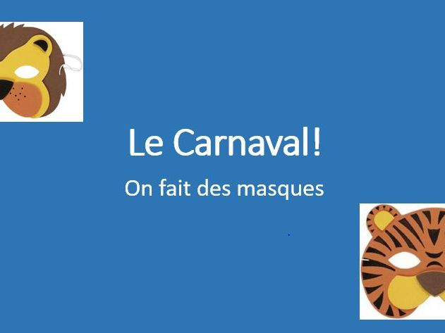 Le carnaval - instructions in French on how to make a mask