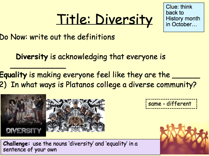PSHE Relationships - Diversity and equality lesson 3