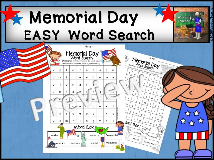 Memorial Day Word Search - Easy