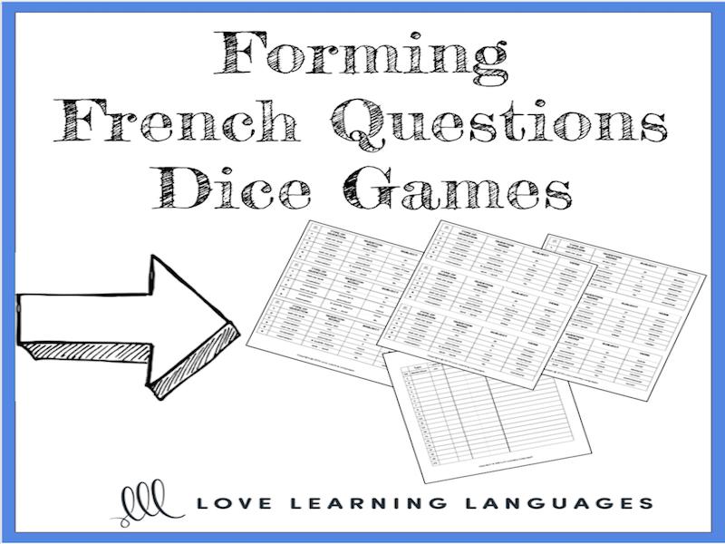 Forming French Questions - 9 Dice Games - Jeux de Dés