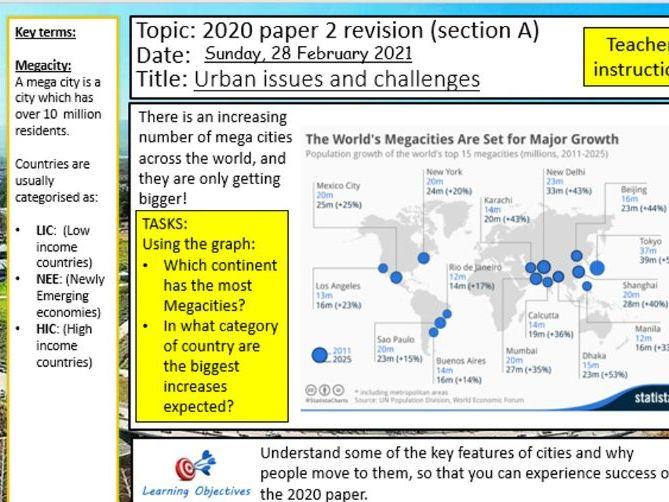 AQA Geography 2020 paper 2 revision lesson bundle
