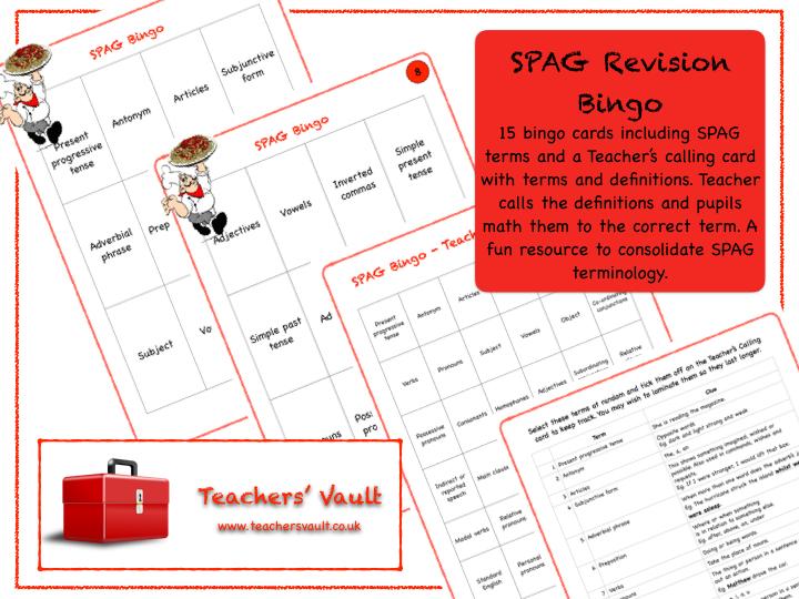 SPAG Revision Bingo